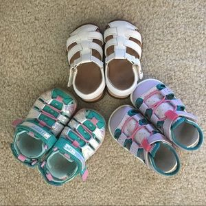 Lot of 3 size 5 toddler girl sandals
